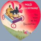 Vintage Valentine DOG IN WAGON Terrier AC CO 1930s/40s