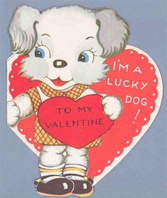 "Vintage Valentine Card 1940s I""M A LUCKY DOG Dog-gone"