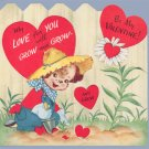 Vintage Valentine Card 1940s DOG Gardener LOVE WILL GROW Pop-Out Stand-UP