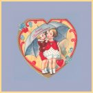 Vintage Valentines Day Card UMBRELLA Germany 1920s SWEET REMEMBRANCE
