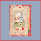 Vintage Valentines Day Card ART DECO Paper Lace 1930s BIRDS