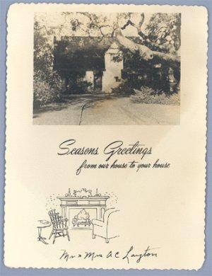 Vintage REAL Photo CHRISTMAS CARD 1940s LAYTON