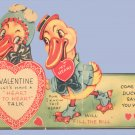 Vintage Valentine Card COME ON DUCKY Duck in Spats 1930s