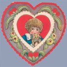 Vintage Valentine HEART Cat KITTEN 1910s ART NOUVEAU