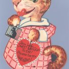 Vintage Valentine CAT Eat Mouse LARGE MECHANICAL Sweet