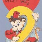 Vintage Valentine MONKEY Lets Bill & Coo 1940s