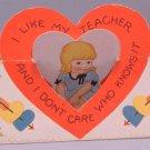 Vintage Valentine STAND-UP 1920s I LIKE TEACHER
