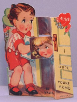 Vintage Valentine STAND-UP 1930s HOPE YOU'RE HOME