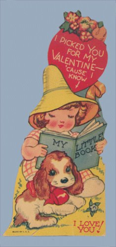 Vintage Valentine MY LITTLE BOOK I Picked You 1930s/1940s DOG Spaniel
