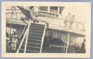 Vintage Photo 1910s ABOARD SHIP Boat POCAHONTAS