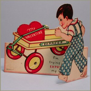 Vintage Valentine's Day Card EXPRESS WAGON Stand-Up 1930s