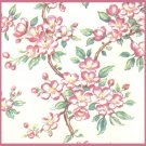 Vintage GIFT WRAPPING PAPER Wrap 1950s Cherry Blossoms PINK FLOWERS