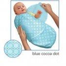 Kiddopotamus SwaddleMe blanket in Blue Cocoa Dot - Small