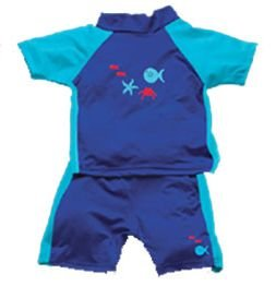iPlay 2pc Sun Protective Suit w Diaper UPF 50 - 2T - AQUA