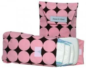 Diapees n Wipees pouch - PINK DISCO DOT