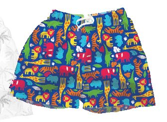 iPlay Swim Trunks with Swim Diaper in Jungle fabric - 6m