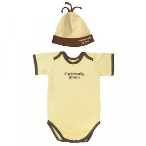 Yellow ORGANICALLY GROWN Organic Cotton bodysuit + cap, 6m