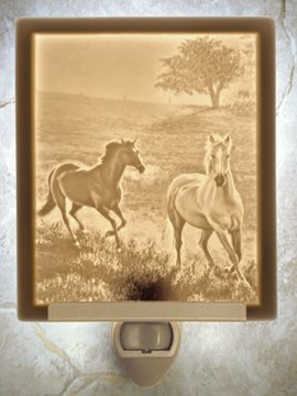 Morning Run Horses Flat Lithophane Nightlight