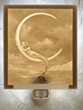 Mermaid and the Moon Flat Lithophane Nightlight