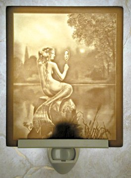 Mermaid & Mirror Flat Lithophane Nightlight