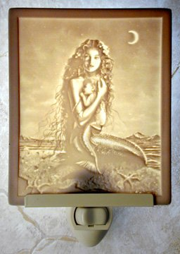 Mermaid and Child Flat Lithophane Nightlight