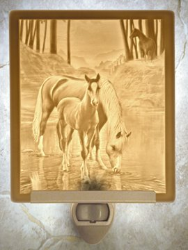 Cool Waters Horses Flat Lithophane Nightlight