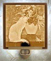Cat with Flowers Flat Lithophane Nightlight
