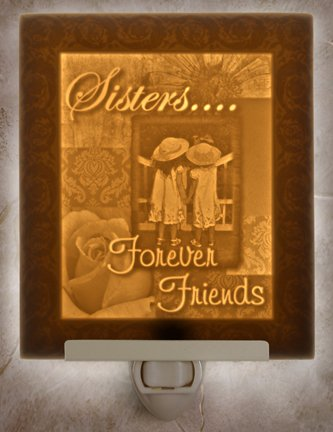 Sisters Forever Flat Lithophane Nightlight