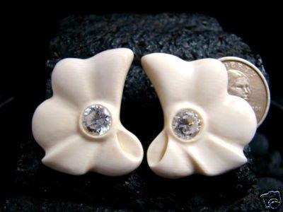 EARRINGS PIERCED FRENCH OMEGA STYLE - FOSSIL MAMMOTH IVORY W/ CRYSTAL CZ GEMSTONES