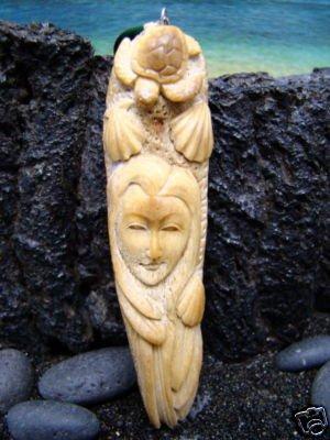 """""""MERMAID & HAWAIIAN SEA TURTLE,SHELLS """" CARVED ALASKA MOOSE ANTLER ANIMAL SPIRIT PENDANT"""
