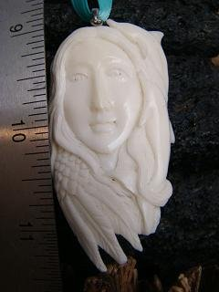 """ MERMAID DOLPHIN "" CARVED BONE ANIMAL SPIRIT PENDANT   FREE GIFTS! SATIN RIBBON & SHIPPING"