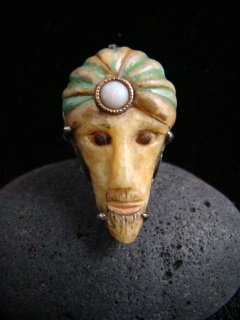 SALE!!  MAGICIAN WIZARD MYSTIC VINTAGE CARVED FOSSIL WALRUS IVORY W/ OPAL GEM SIZE 4 RING