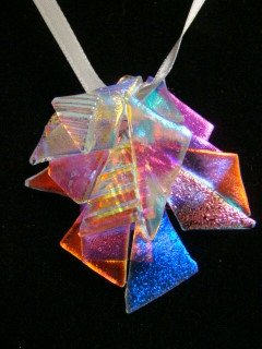 """DICHROIC GLASS  """" ORCHID """" PENDANT WEARABLE ART HYPO-ALLERGENIC NO METAL"""