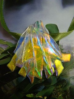 """DICHROIC GLASS  """" CRYSTAL MIST  """" PENDANT WEARABLE ART HYPO-ALLERGENIC NO METAL"""