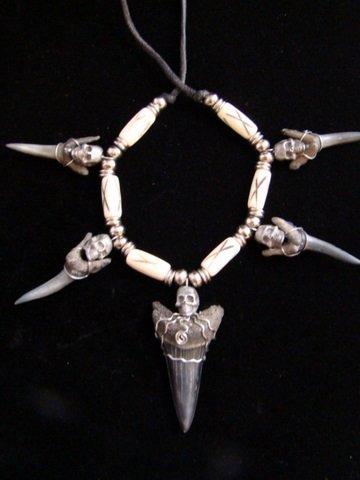Fossil  Mako & SAND TIGER SHARKS NECKLACE/ HAT BAND5 PEWTER SKULL& 6 BONE Beads