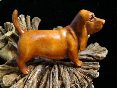 "BOY HOUND DOG CARVED PEACH TREE WOOD MINIATURE 2 5/8""  FREE GIFT SILK BAG"