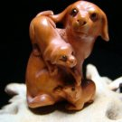 "MOM DOG & PUPPIES  CARVED PEACH WOOD MINIATURE FIGURINE 2+"" FREE SATIN RIBBON, GIFT BOX, SILK BAG"