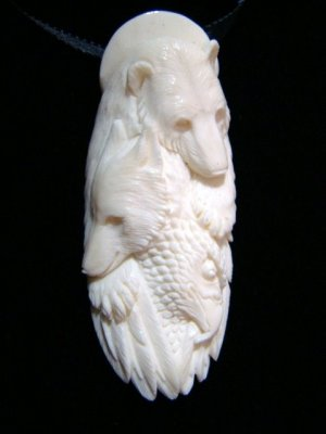 Polar Bear Fox Or Coyote Eagle Alaskan Animal Spirit Totem Hand Carved Bone Pendant