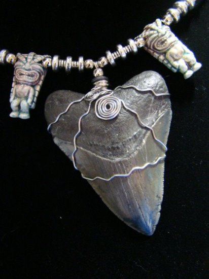"BIG 3 1/3"" FOSSIL MEGALODON SHARK TOOTH HARLEY STAINLESS WIRE RAKU CERAMIC HAWAII TIKI BEAD NECKLACE"