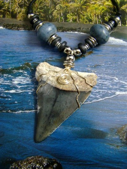 HUGE! BONE VALLEY GREAT WHITE SHARK TOOTH NECKLACE w/ LIGHTENING BOLTS!