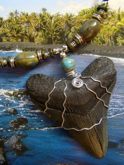 """BIG 3 1/4"""" FOSSIL MEGALODON SHARK TOOTH HARLEY STAINLESS WIRE RAKU CERAMIC BEADS NECKLACE"""