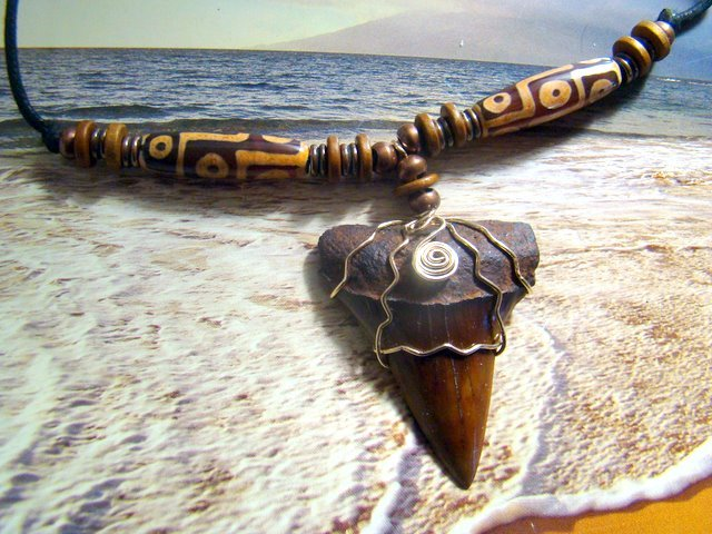 """2"""" FOSSIL MAKO SHARK TOOTH, 14K GOLD-FILL WIRE WRAPPED, TIBET AGATE STONE EYE BEADS NECKLACE"""