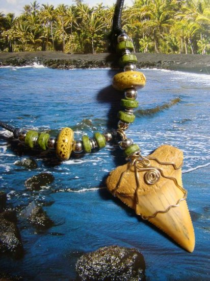 "2 1/4"" GREAT WHITE SHARK TOOTH NECKLACE -14kt. GOLD WIRE - RAKU CERAMIC BEADS"