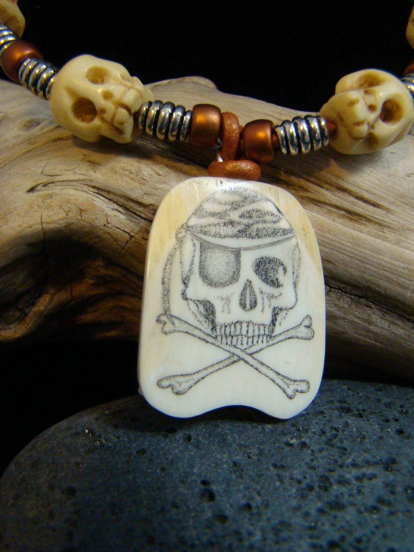 "Scrimshaw "" Skull & Bones "" Fossil Mammoth Ivory - Jolly Roger - Carved Bone Skull Beads Necklace"
