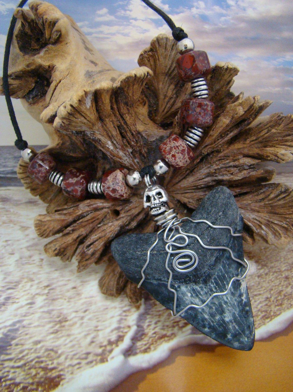 """Fossil  Megalodon Shark  Tooth Necklace  """"Lightening Bolts"""" - Skull & Ceramic Beads"""
