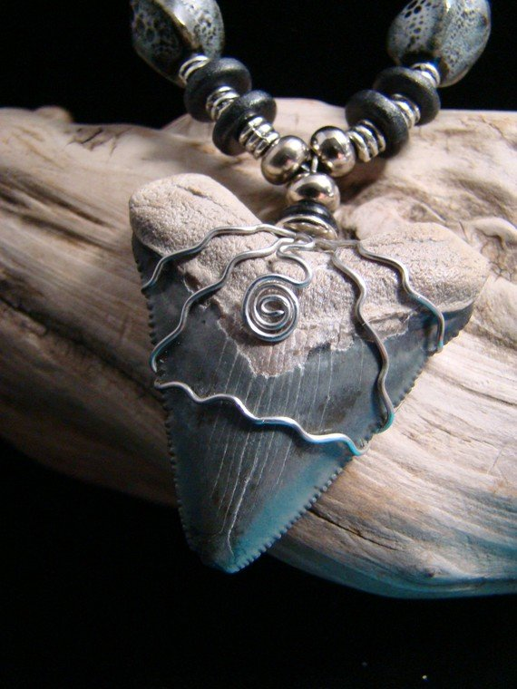 Bone Valley, Florida Fossil Megalodon Shark Tooth Necklace -Ceramic Beads-Stainless Steel Wire
