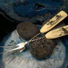 2 Vintage Scrimshaw Raindeer Sled Ice Fisherman Fossil Mammoth Sterling Silver Forks