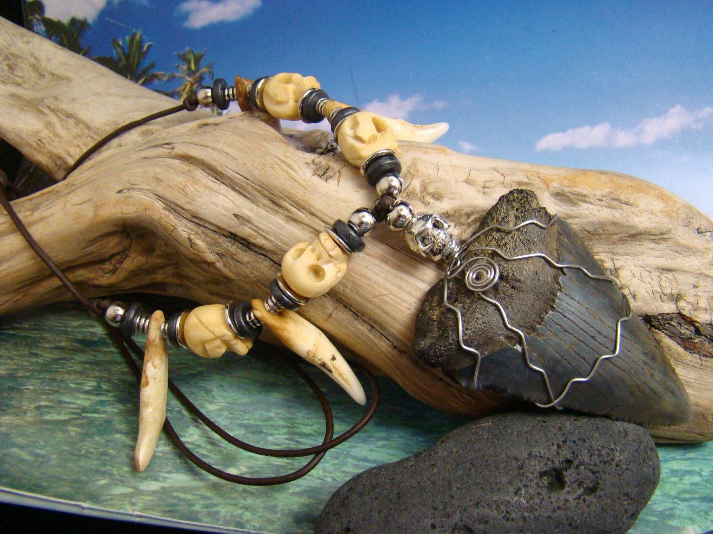 "HUGE 64mm, 2 1/2"" Fossil  Great White Shark  Tooth Hand Carved Bone Skulls Wild Coyote Teeth Bead"