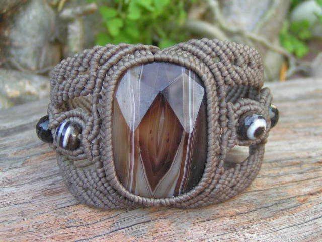 Man Size Natural Huge Agate Gemstone Bracelet - Hand Made Micro Macrame, waxed Hemp Cord