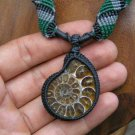 Natural Fossil Prehistoric Ammonite Crystallized Shell Pendant / Necklace - Micro Macrame Hemp Cord